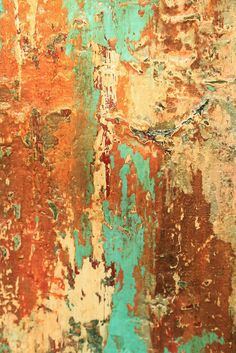 Rust Turquoise Texture Abstract Painting by AmyNealArtStudio