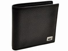 Gucci Men's Wallet logo silver Black Leather Bi-fold