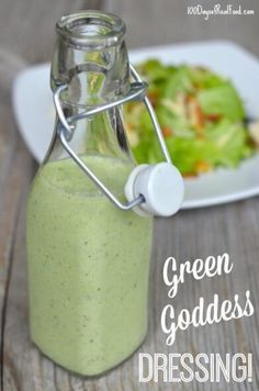 Green Goddess Dressing recipe on 100 Days of (Cheese Snacks Squat Motivation) Clean Recipes, Real Food Recipes, Cooking Recipes, Green Goddess Salad Dressing, Panera Green Goddess Salad, Green Goddess Recipe, Green Goddess Dip, Salad Dressing Recipes, Salad Dressings