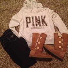 Victoria Secret pink leopard print sweatshirt with dark skinny jeans and tall uggs #fall2013 #winter2013