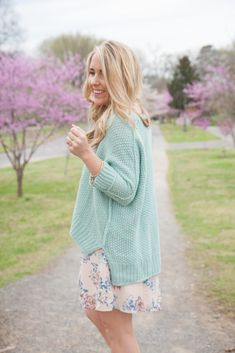 Sweater Over Spring Dress // Floral Dress for Spring