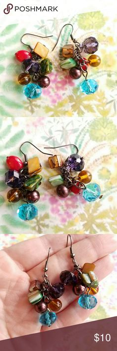 Boho Sparkly Beaded drop earrings silver tone Sparkly and pretty beaded drop earrings with dyed abalone, glass, and faux pearl dangles on dark silver tone hook wire backs. From a smoke free home:)  8818gem888 Jewelry Earrings