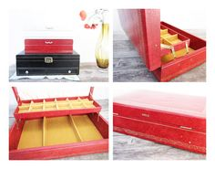 Vintage Red & Yellow Mele Jewelry Box  2 Levels  by WINDSEEDstudio, $32.00