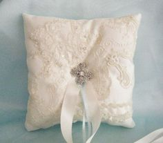 ivory lace ring pillow | visit etsy com