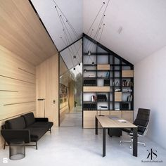 Biuro pod Krakowem - Biuro - zdjęcie od KamińskaStańczak - Gabinet - Styl Nowoczesny - KamińskaStańczak Workplace Design, Creative Studio, Furniture, Small Houses, Home Decor, Attic, Spaces, Home Office, Projects