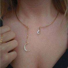 a66d7da1d128d Bohemia Rhinestone Full Zircon Moon Pendants Collar Necklaces for Women  Elegant Gold Silver Color Crystal Circle