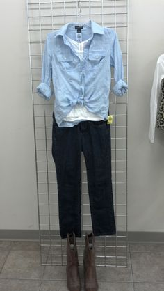 Back to School Looks at Goodwill! Great finds like #Chambray #zipbacktshirts #darkdenim and #cowboyboots
