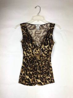 cb43dd9bbc7067 Cache Women s Animal Print Top Size S Sleeveless V-neck gathered at front  95
