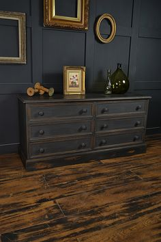This low level 6 drawer chest really creates the perfect storage solution. We've painted in Annie Sloan Graphite with the inner drawers in a mix of Olive & Old White. We've sanded back the paint to give a rich and warm look and enhanced with dark wax. http://www.thetreasuretrove.co.uk/bedroom-storage/black-low-level-shabby-chic-chest-of-drawers