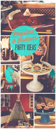 """A Pilgrims and Indians birthday party in turquoise and orange with """"Mayflower"""" brownie bites and a teepee! See more party planning ideas at CatchMyParty.com!"""