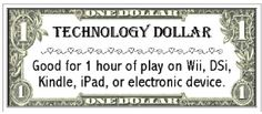 1 tech buck = 1 hour of screen time.  Give children 7 bucks at the beginning of the week to use as they see fit.  Kids can earn more tech bucks, but can also loose them.