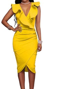 - Available in Green, Wine Red, Black, Yellow, Blue, and White - Available in Plus - Deep V - Ruffles - Polyester and spandex