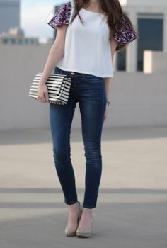 Tweed Sleeved Shirt + Jeans // Southern Curls and Pearls