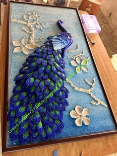 Paper Quilling: The Long Lost Cousin Of Origami Sculpture Painting, Mural Painting, Ceramic Painting, Ceramic Art, Wall Sculptures, Fabric Painting, Paintings, Peacock Wall Art, Peacock Painting