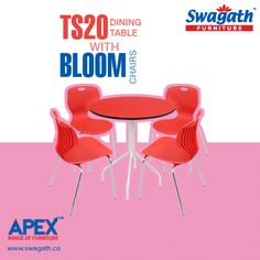 Swagath's APEX range of #furniture offers TS20 dining #table with the combination of Bloom #chairs which can make your dining room trendy!!