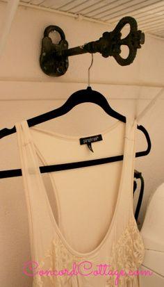Lock and Key hook, Vintage Laundry Room, ConcordCottage.com