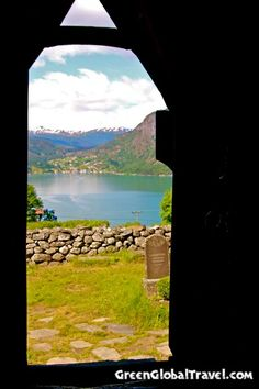 View of Lusterfjord from inside Urnes Stave Church, Norway