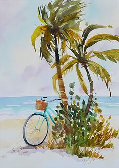 Aqua beach cruiser and palms 14 x 10 Aqua Afternoon watercolor painting.