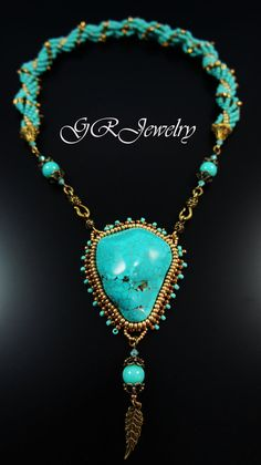 Turquoise golden transformer necklace by LiaReed on Etsy, $95.00