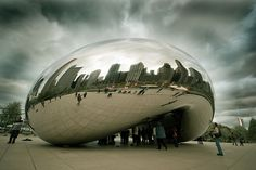 Cloud Gate is a public sculpture by Anish Kapoor in Millennium Park, Chicago. Photo by Wade Griffith.