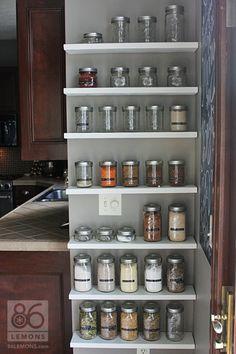 Open Pantry Shelves, Canning Jars and Chalkboard Paint  86lemons.com