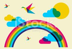 Colorful humming birds and rainbow royalty-free stock vector art