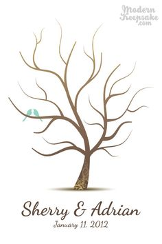 Tree guest book alternative. t  finger print the leaves on and sign your name. cool idea!