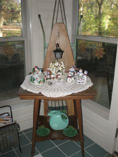 One of our antique tables decorated for Christmas