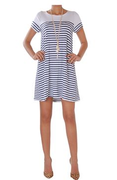 This super soft nautical striped dress has a swingy shape that allows for a forgiving & comfy fit.