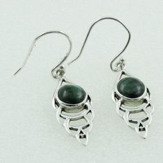 MELACHITE STONE GORGEOUS DESIGN 925 STERLING SILVER EARRINGS #SilvexImagesIndiaPvtLtd #DropDangle