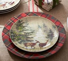 Deer in Snow Salad Plate