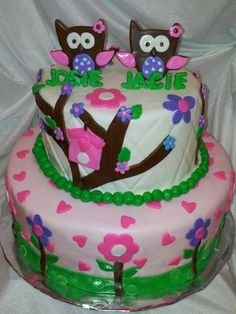 Cute Baby Shower Cakes for twins | Owl cake for twin baby Shower