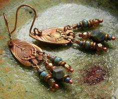 Copper Leaf Earrings Blue Rustic OOAK by ChrysalisToo on Etsy, $42.00