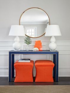 Stephanie Kraus designs, LLC. Older House Renovation Before and After. Robert Abby lamps, society social console table