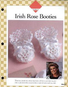 Irish Rose Booties free crochet pattern