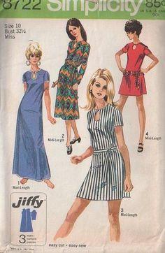 MOMSPatterns Vintage Sewing Patterns - Simplicity 8722 Vintage 70's Sewing Pattern MARVELOUS MOD Jiffy Teardrop Shaped Peekaboo Keyhole Easy Mini, Midi Dress and Maxi Gown Size 12