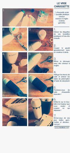 vase chaussette en bouteille de lait - Deco Salon Bleu Gris