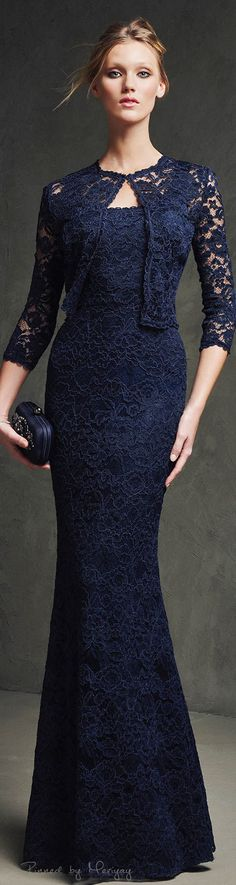Blue lace evening gown.