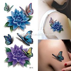 Temporary Tattoos - Rose Tattoo Tafly Fake Tattoos Waterproof Bikini Glue Temporary - Colorful Butterfly Flower Rose Tattoo Sticker Waterproof Temporary Decal Diy Body Art - - -- Visit the image link more details. (This is an affiliate link)