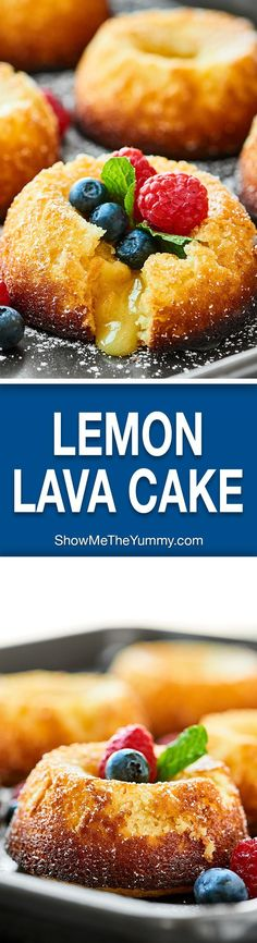 An ultra tender cake with slightly crisp edges and a perfectly white chocolate lemon-y molten lava gooey center, this Lemon Lava Cake is surprisingly easy and so decadent! Lemon Desserts, Lemon Recipes, Just Desserts, Baking Recipes, Sweet Recipes, Delicious Desserts, Lemon Cakes, Baking Ideas, Kitchen Recipes