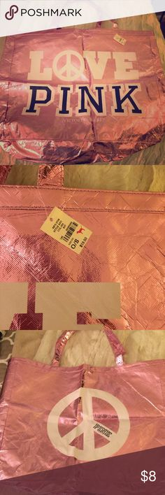 XXL VS pink tote XXL vs pink metallic tote! Would be a great beach bag or reusable shopping bag! PINK Victoria's Secret Bags Totes