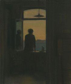 "huariqueje: "" Evening - Maurice Pirenne, 1929 Belgian, Pastel on paper mounted on panel, x 21 cm x 23 cm "" Art Ancien, Aesthetic Art, Dark Art, Oeuvre D'art, Art Inspo, Cool Art, Art Drawings, Illustration Art, Sketches"
