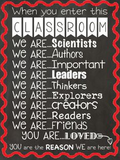 Red and black classroom theme?  Then you need this to remind students of how important and loved they are with this inspirational classroom poster. You could frame it or have it enlarged and displayed out by the door for them to see as they walk in the door everyday for a reminder.