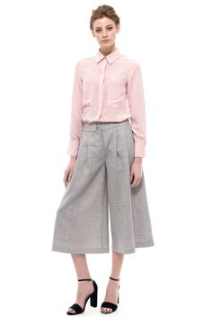 These Wide Leg Midi Pants are tailored from mid-weight wool blend. Cropped for a chic look, the wide leg effect is finished with a fitted waist. Palazzo Trousers, Crochet Collar, Cotton Skirt, Oversized Shirt, Pink Silk, Ss16, Shades Of Blue, Silk Dress, Chemistry