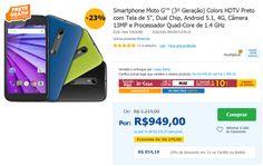 Smartphone Moto G Colors HDTV Preto com Tela de 5'' Dual Chip Android 5.1 4G Câmera 13MP Quad-Core de 1.4 GHz << R$ 85410 em 10 vezes >>