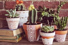 DIY Crafts You Can Make with Lace   Cool DIY Ideas for Fashion, Decor, Gifts, Jewelry and Home Accessories Made With Lace   Pretty Lace Flower Pots   http://diyjoy.com/diy-crafts-ideas-with-lace