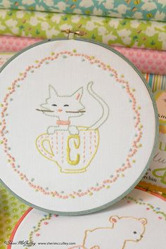 Embroidery Pattern PDF  C is for Cat In a Little by sherimcculley, $6.00