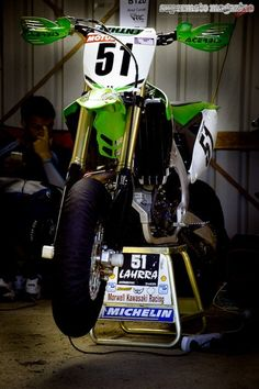 The number 51 Morwell Kawasaki Racing SuperMoto of female rider, Laharra Cloak