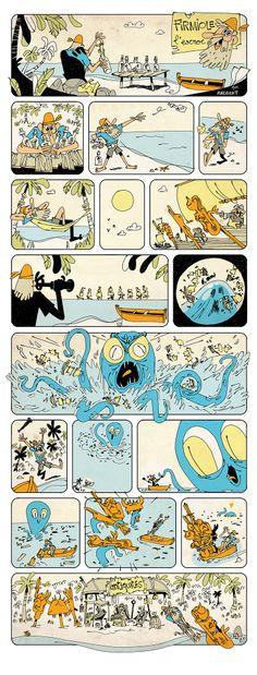 Development work by Cristina Sitja Rubio for u0027Etranges Créatures - magazine storyboard