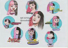 Art Drawings Sketches, Disney Drawings, Cute Drawings, Art Style Challenge, Drawing Challenge, Cartoon Styles, Cartoon Art, Character Art, Character Design